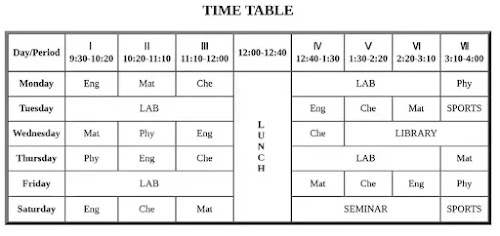time table code in html download