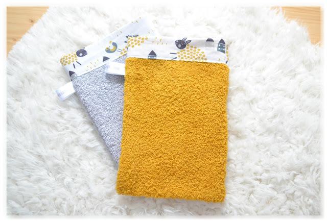 gants de toilette jaune et gris cousus main
