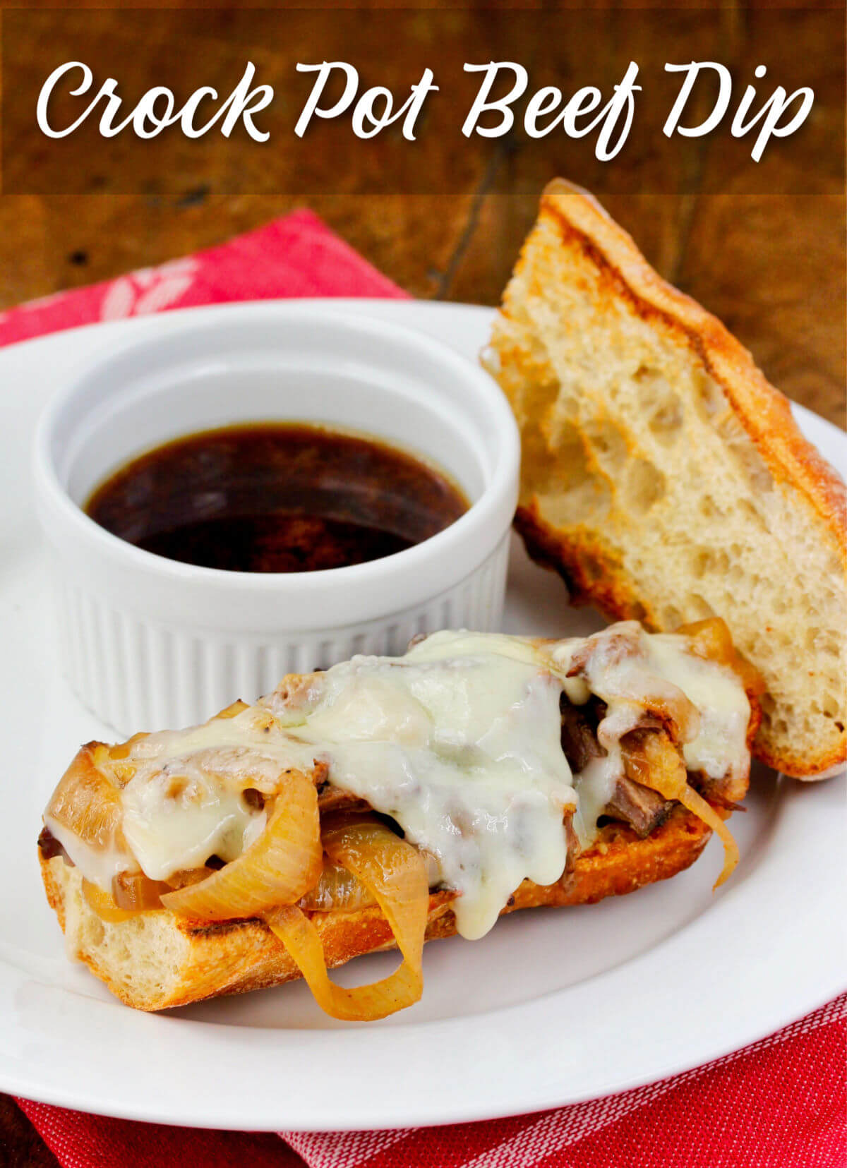 French Dip Sandwich au Jus on a plate.