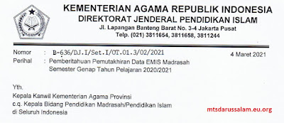 SE Pemutakhiran Data EMIS Madrasah Semester Genap Tahun Pelajaran 2020-2021