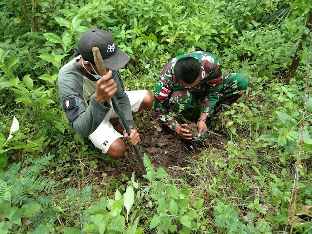 Peduli Lingkungan, Satgas 744 Ajak Generasi Muda Tanam Pohon di Desa Aitoun