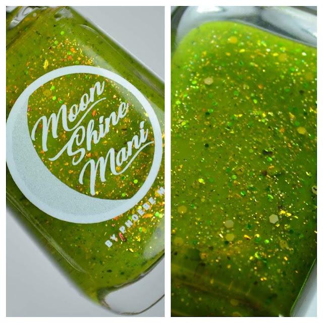 green glitter nail polish in a bottle