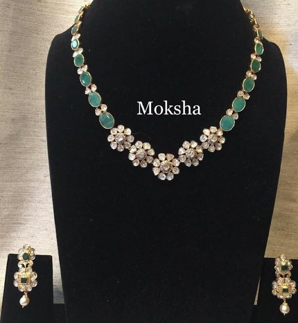 Emerald Pachi Floral Choker by Moksha