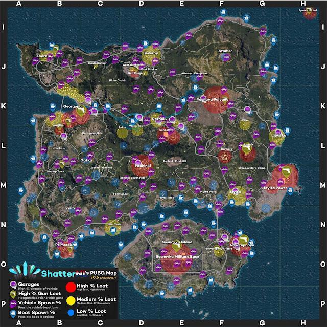 أماكن الموارد في خريطة ببجي