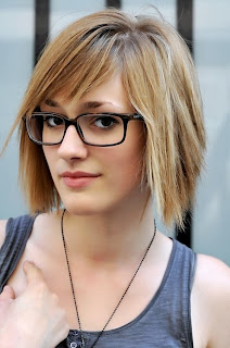 straight bob hair style thin with glasses