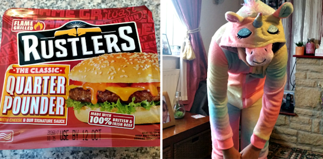 A burger and my youngest in a unicorn onesie