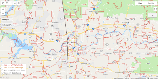 Arkansas ZIP Codes on Google Maps, all red lines