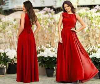 Rochia lunga rosie Verona marca Miss Grey