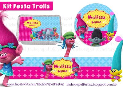 Kit Festa Trolls azul pink amarelo