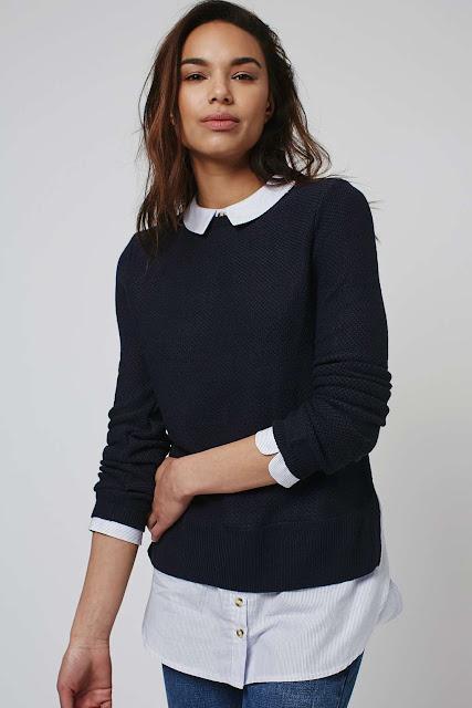 black white shirt jumper, black hybrid jumper, black white collar jumper,