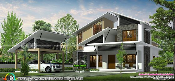 A modern house with detached car porch