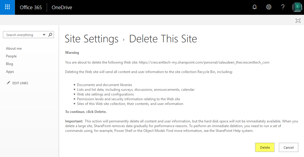 How to Delete OneDrive for Business Site Collection in SharePoint