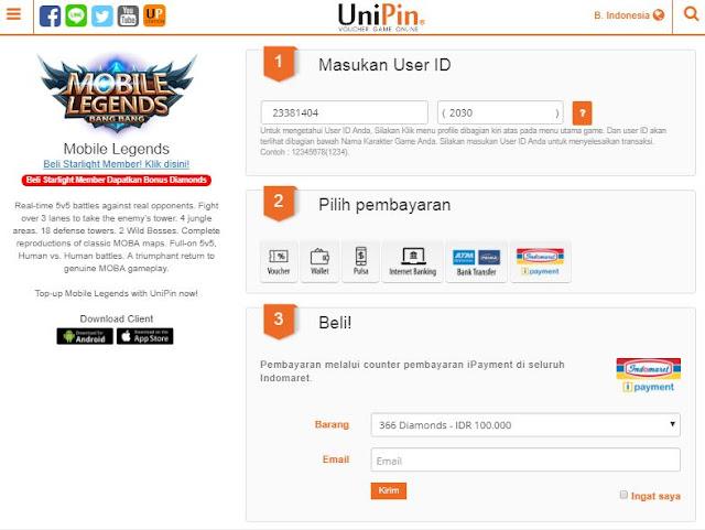 Cara Top Up / Membeli Diamond Mobile Legends Murah di UniPin