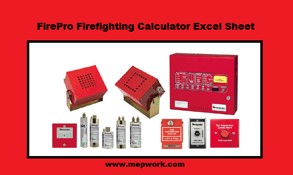 Download FirePro - Aerosol Fire Suppression Calculation Excel Sheet xls