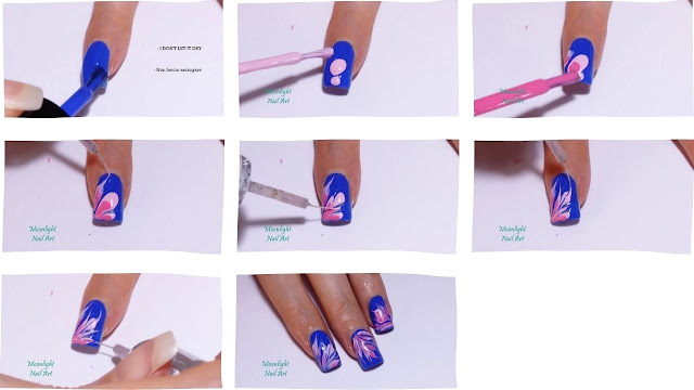 Blue & Pink Drag Marble Nail Art Design Tutorial