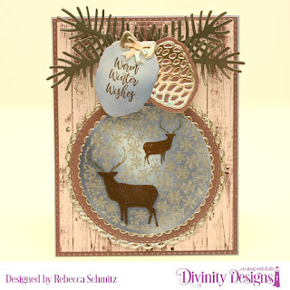 Stamp Die Duos: Deer Ornament, Paper: Rustic Christmas, Custom Dies: Rectangles, Scalloped Circles, Pinecones & Pine Branches