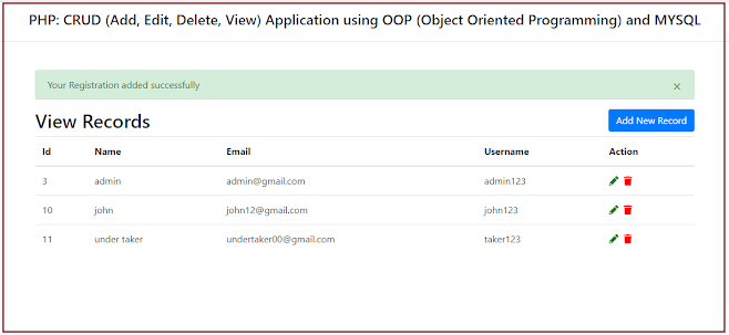 PHP: CRUD (Add, Edit, Delete, View) Application using OOP (Object Oriented Programming) and MYSQL