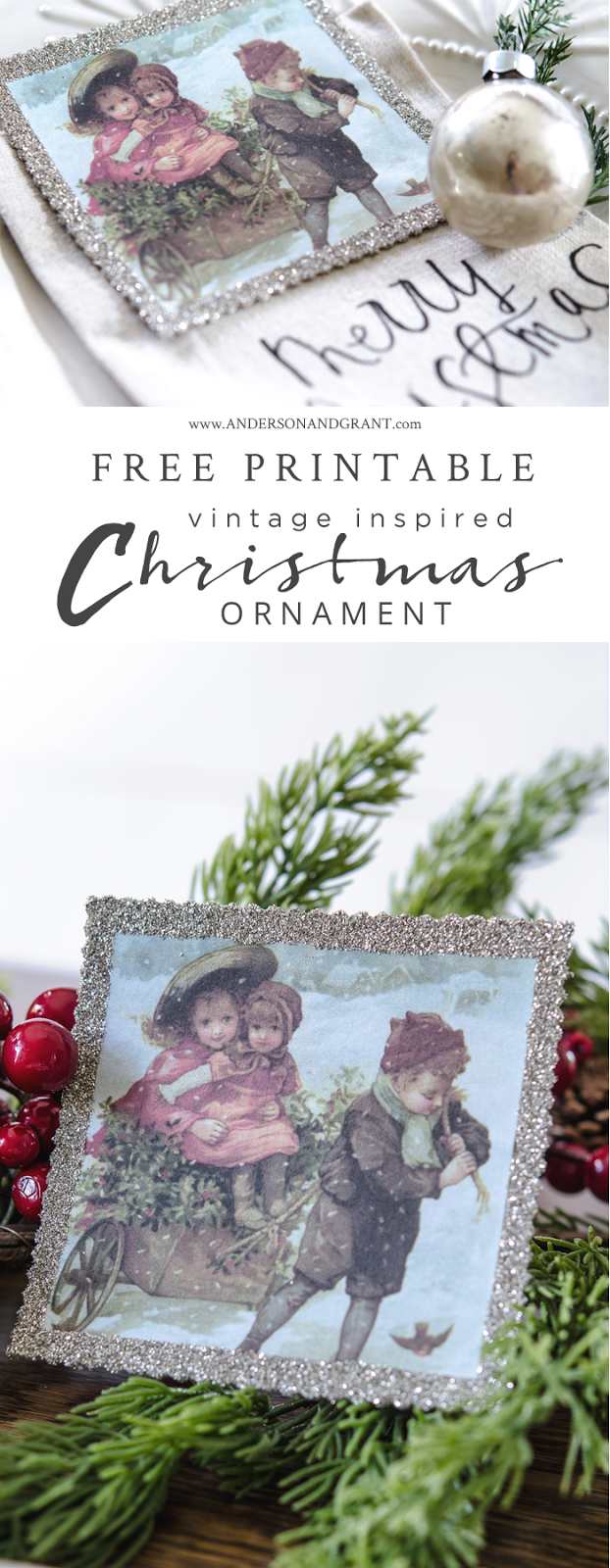 Check out this post for a free printable vintage image to create this festive holiday ornament.  |  www.andersonandgrant.com
