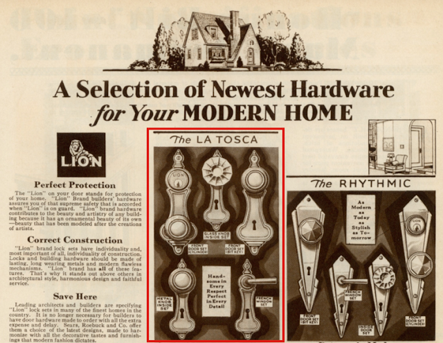 Sears 1930 building supplies catalog showing LaTosca door handle hardware and Rhythmic door handle hardware