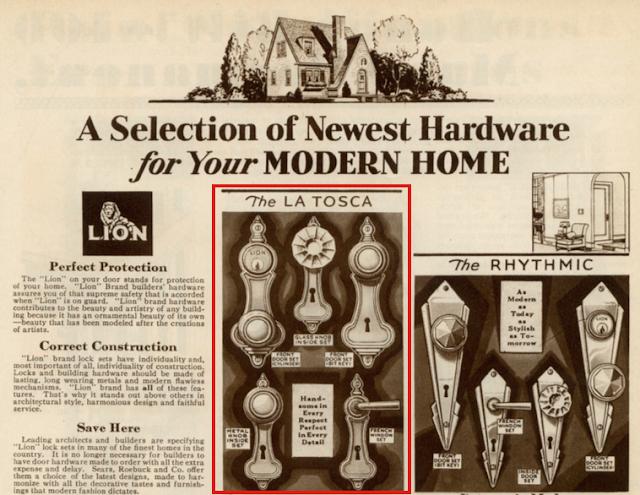 Sears 1930 building supplies catalog showing LaTosca door handle hardware and Rhythmic door handle hardware