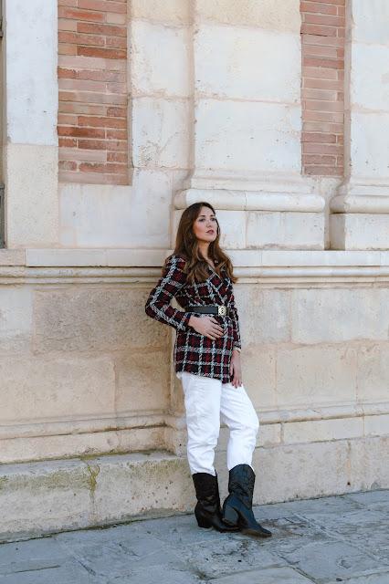 Fashion South con blazer de cuadros