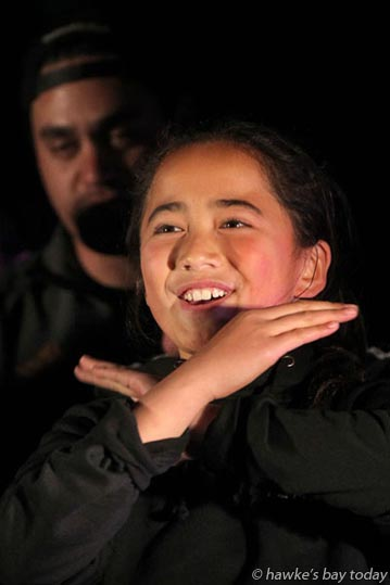 Manukatea Hokianga performing with Te Tono a Te Taurapa at the Flaxmere Matariki Festival, a Maori new year family celebration at Flaxmere Park, Flaxmere, Hastings. photograph