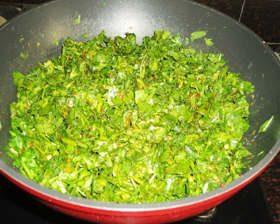 methi leaves, chilli powder, turmeric powder ad salt added