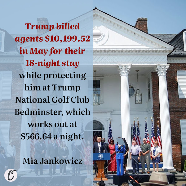 Trump billed agents $10,199.52 in May for their 18-night stay while protecting him at Trump National Golf Club Bedminster, which works out at $566.64 a night. — Mia Jankowicz, Business Insider News Reporter