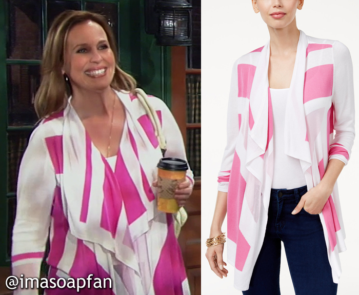 Laura Spencer, Genie Francis, Pink and White Colorblock Cardigan, INC International Concepts, GH, General Hospital, Season 55, Episode 05/18/17