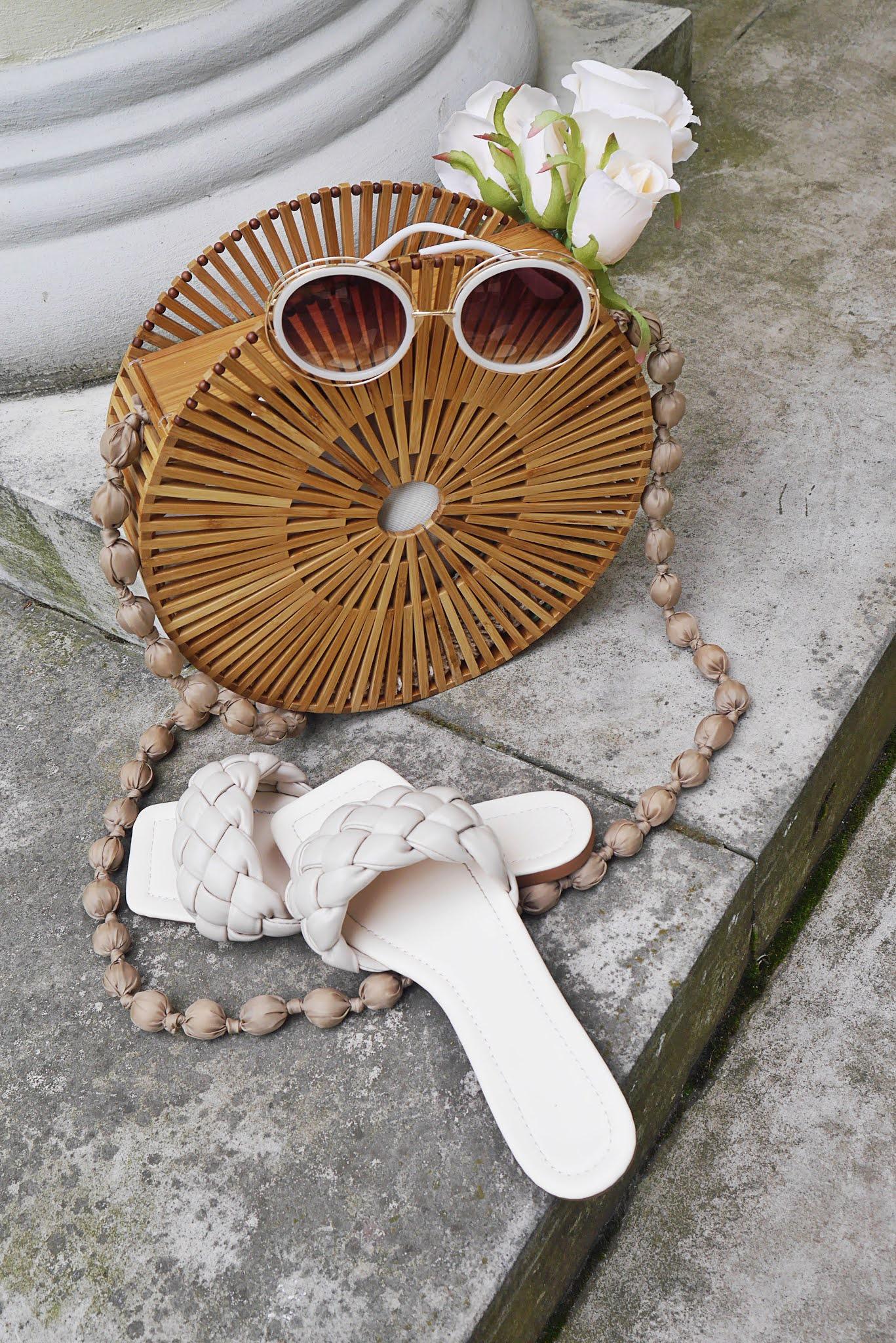 blog modowy blogerka modowa karyn puławy drewniany koszyk torebka renee beżowe klapki shein okrągłe okulary