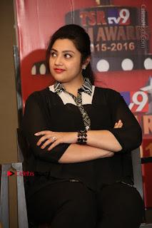 Tamil Actress Meena Latest Stills in Black Dress at TSR TV9 Awards Press Meet  0127.JPG