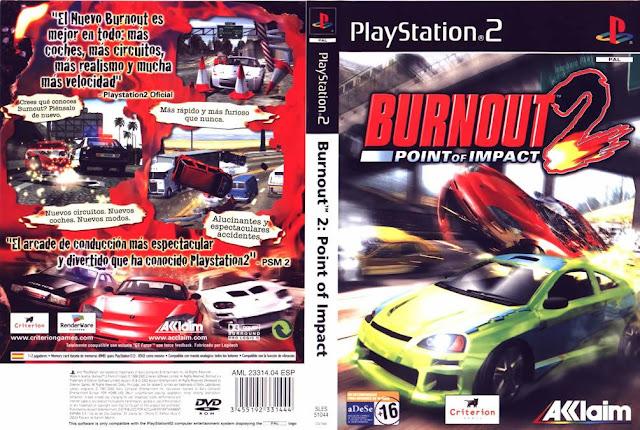 Descargar Burnout 2: Point of Impact ps2 iso NTSC-PAL: Es la secuela de Burnout. Fue creado por Criterion Games y publicado por Acclaim. Lanzado en el 2002 para la PlayStation 2 y más tarde lanzado para la Nintendo GameCube y la Xbox en principios y finales de abril, respectivamente, además la versión de Xbox incluye nuevas características.