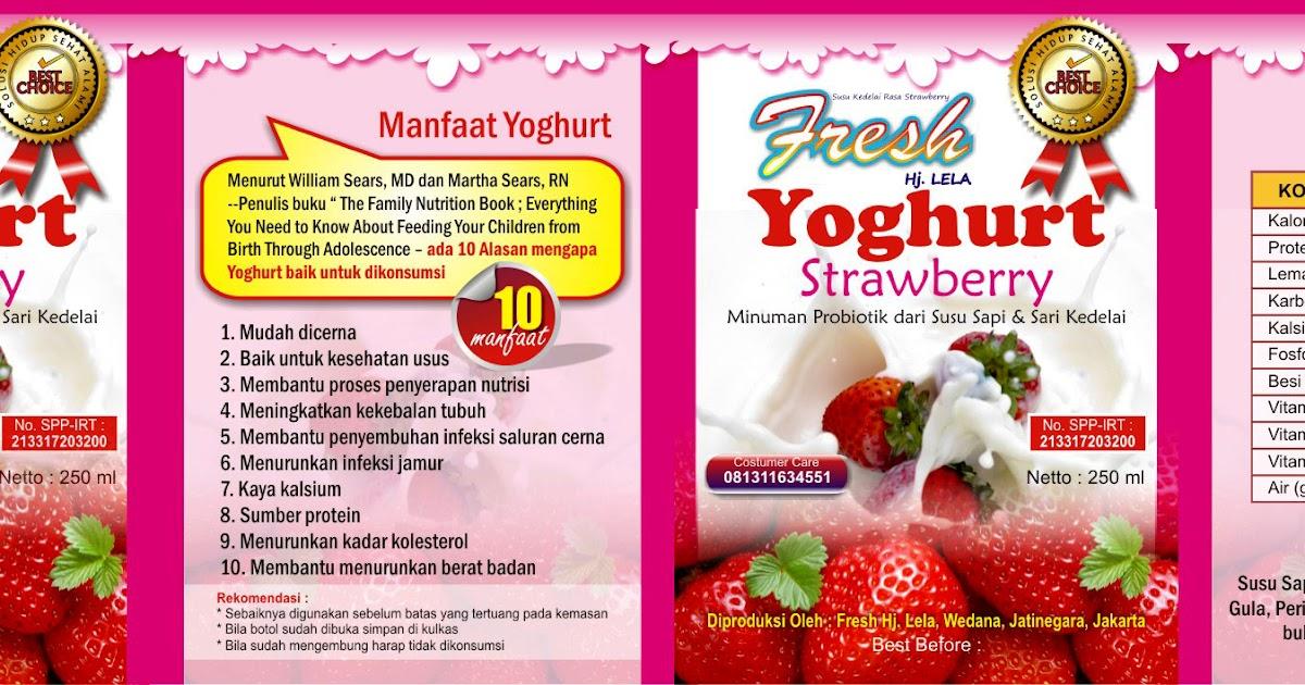 Desain Label Kemasan Yoghurt Rasa Strawberry - UMI HILWA