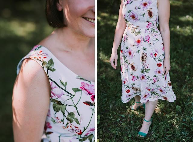 sukienka, letnia sukienka, sukienka w kwiaty, wzorzysta sukienka, midi, długość do połowy łydki, wrocław, jak uszyć, sukienka z podszewką, zamek kryty, sukienka z cięciem francuskim, spódnica z kontrafałdą