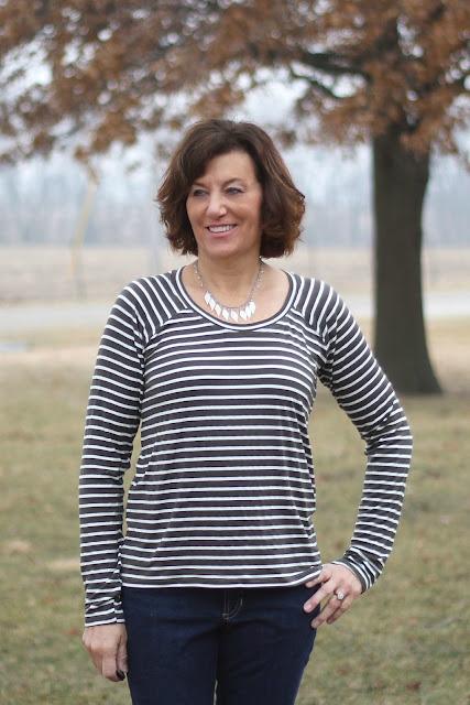 Bellevue shirt made from Style Maker Fabrics' stripe jersey