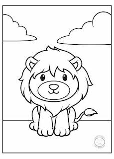 animales bebé para colorear leon