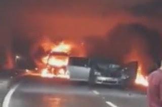 Ordu'da zincirleme kaza! Araçlar yandı
