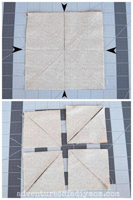 collage depicting how to cut half square triangles
