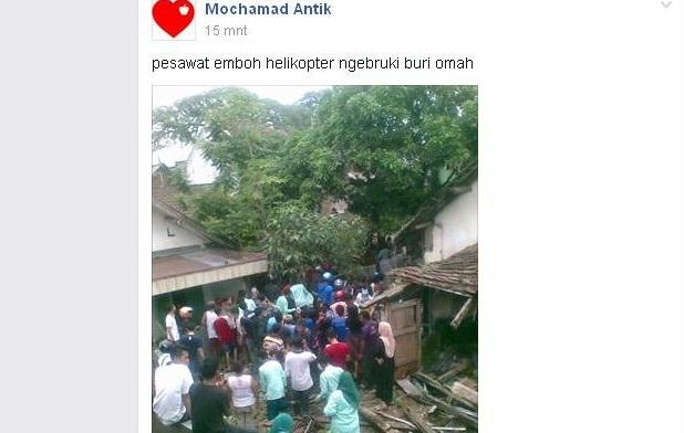 Pesawat Jatuh Menimpa Rumah Warga Bikin Heboh Warga Kota Malang
