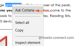 Search Word Meaning Written on Web page in Edge