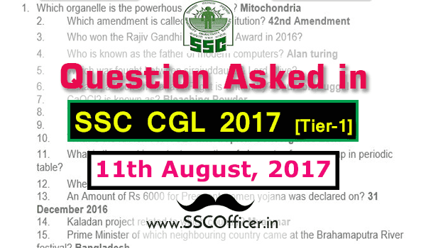 Question Asked in SSC CGL 2017 Tier-1 on 11th August- [PDF] - SSC Officer