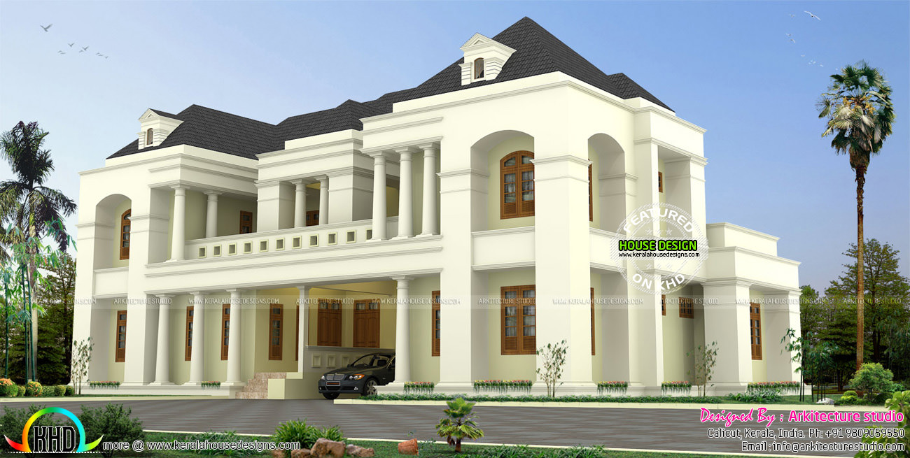 Luxury colonial style indian home design kerala home for Colonial luxury house plans