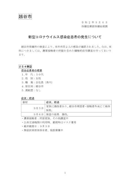 新型コロナウイルス感染症患者の発生について(9月6日発表)