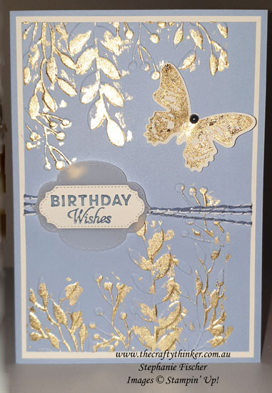 #thecraftythinker #stampinup #cardmaking #gildedleafingwithembossingfolders #greeneryembossingfolder , Gilded Leafing Embellishment, Use gilding flakes with embossing folders, Parisian Flourish, Greenery embossing folder, Stampin' Up Demonstrator, Stephanie Fischer, Sydney NSW