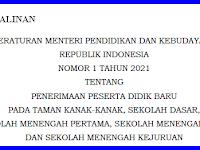 Salinan Peraturan Mendikbud Nomor 1 Tahun 2021 Tentang PPDB Tahun Pelajaran 2021-2022