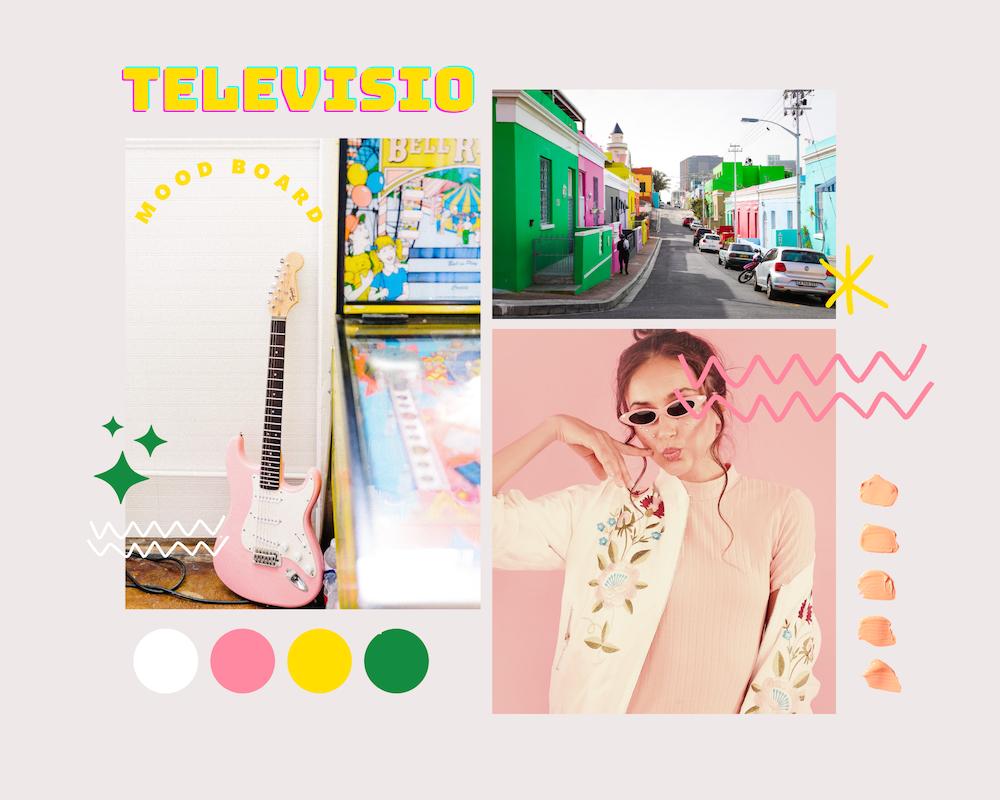 Moodboard Television oman korumalliston luomasta värikkäästä ja leikkisästä fiiliksestä.