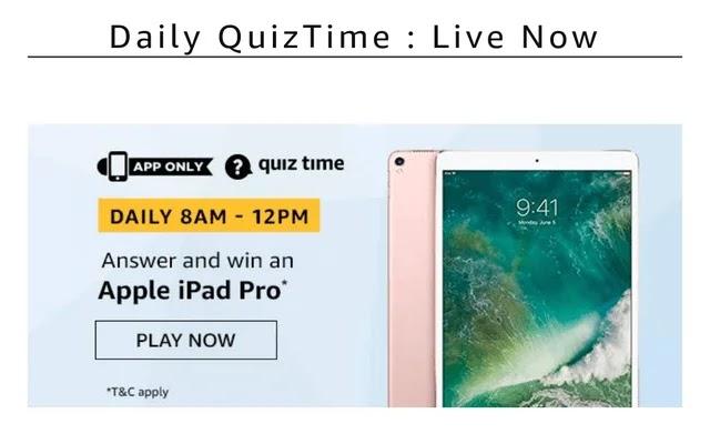 Amazon 14th February quíz, Amazon apple iPad pro quiz