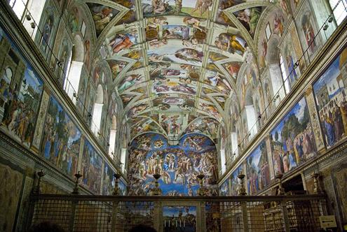 Capilla Sixtina de Miguel Ángel (Vista general de la bóveda y el Juicio Final)