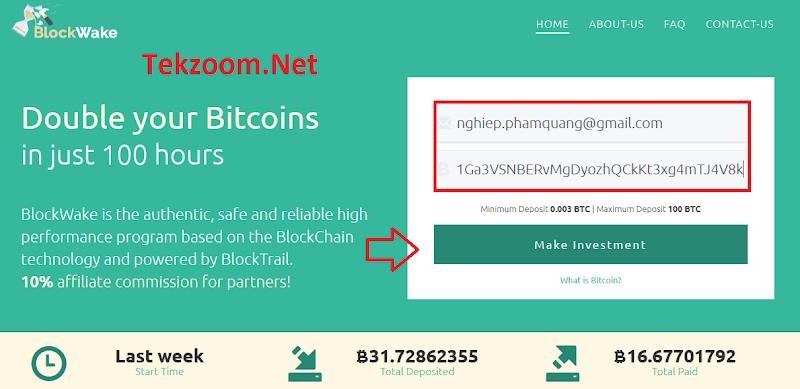 [SCAM] Review BlockWake - Lãi 200% sau 100h - Đầu tư tối thiểu 0.003 BTC - Thanh toán tự động