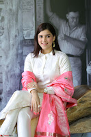 Mannara Chopra in Silky White Salwar Suit with Pink Chunni Latest Exclusive Pics March 2017 ~  012.JPG